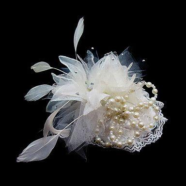 lindo casamento de cetim / pena flores nupciais / headpiece – BRL R$ 13,94