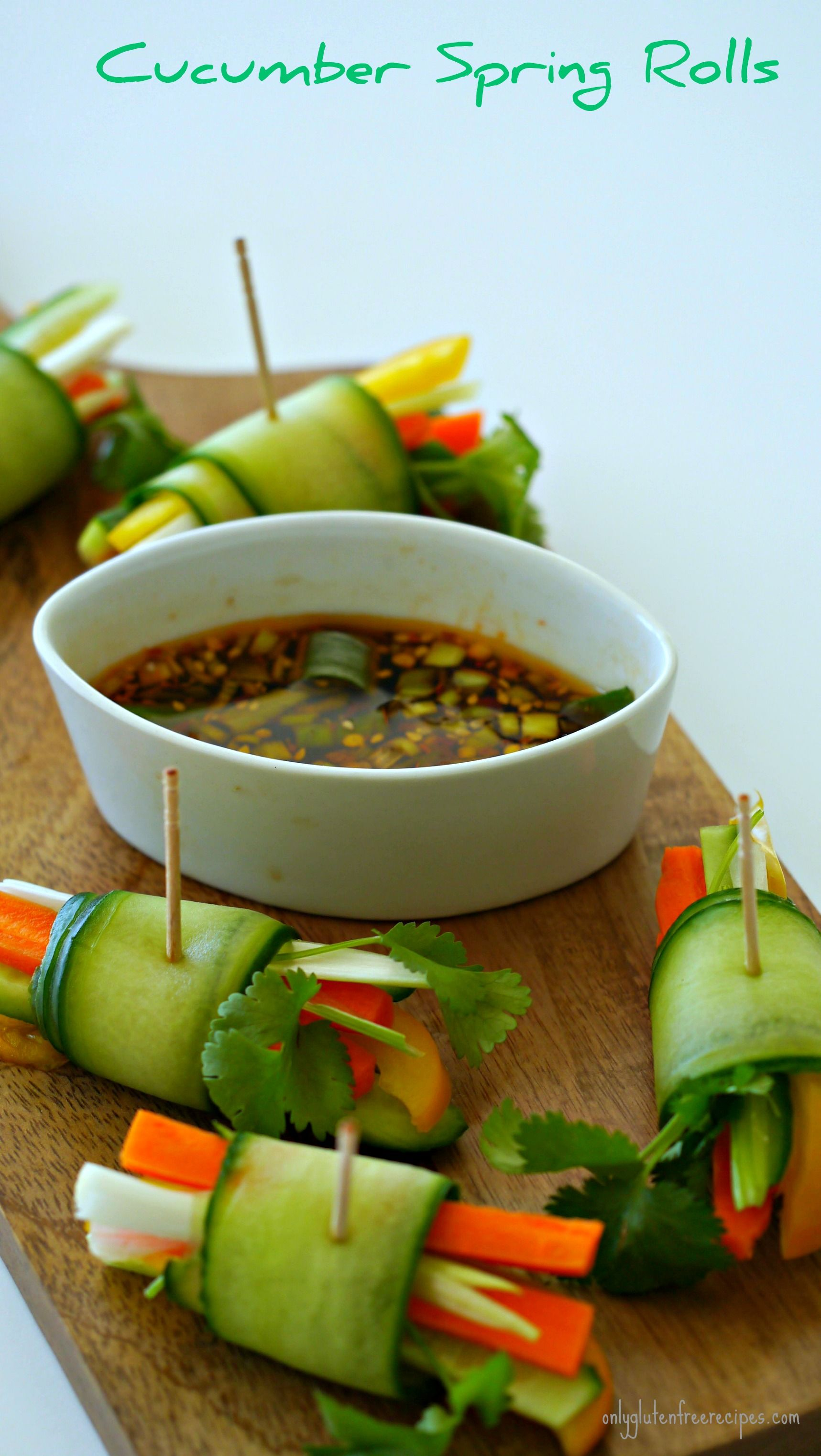 CUCUMBER SPRING ROLLS ~ Whether you are entertaining a crowd or looking for a healthy snack for your kids, these raw spring rolls are a perfect addition. I have added flavourful Vietnamese dipping sauce complementing the fresh veggies.
