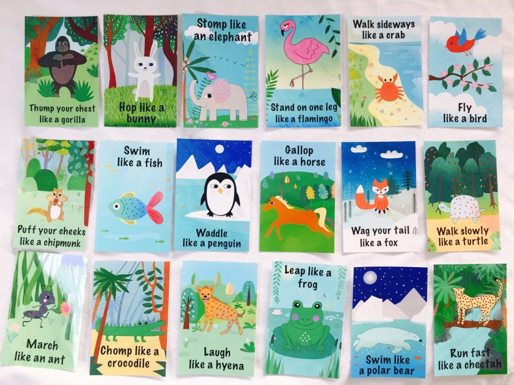 Animal Action Cards Action Cards For Toddlers Action