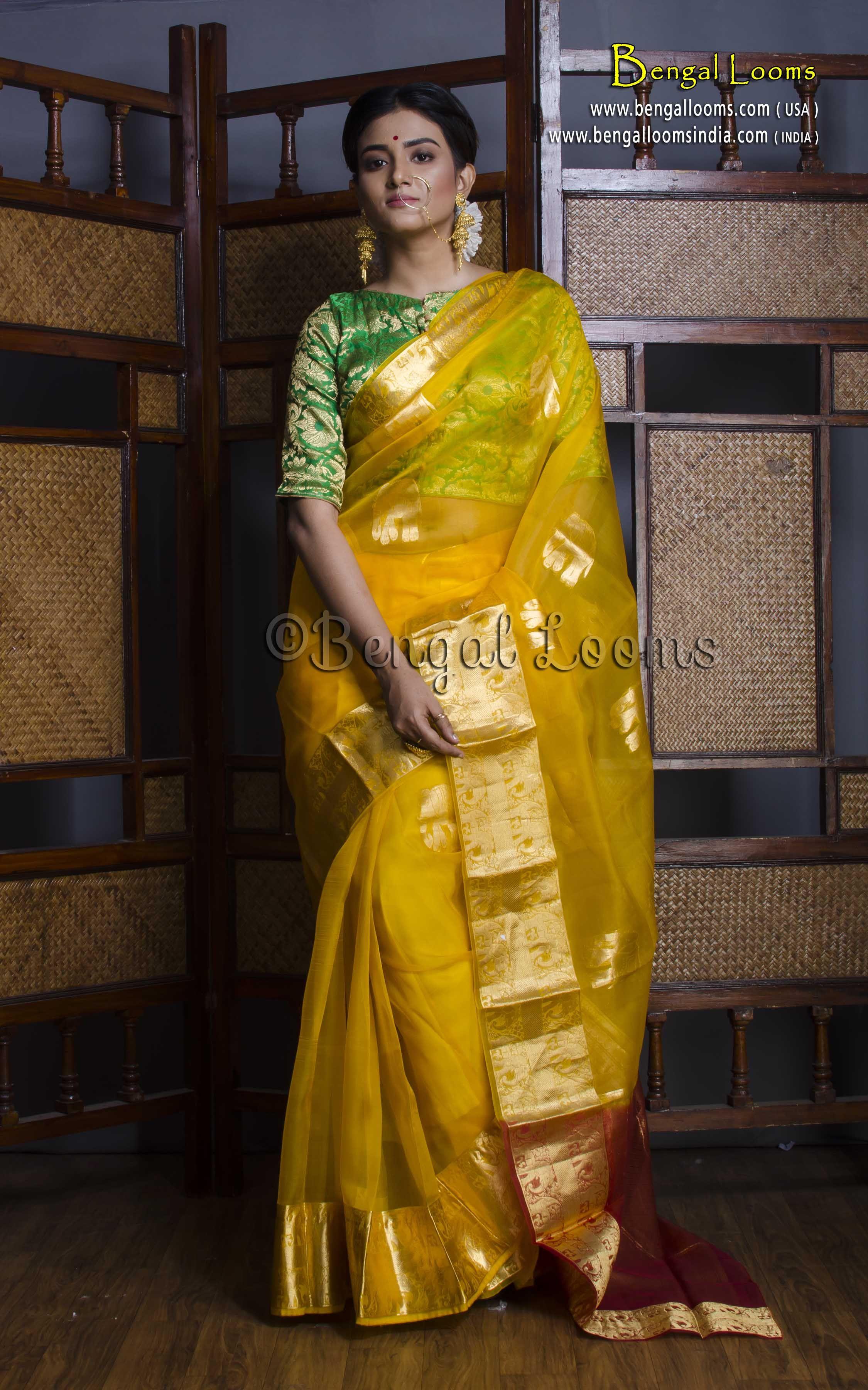 b1e7a6f3e9 Pure Handloom Kora Silk Kanchipuram Saree in Yellow and Gold | Kora ...