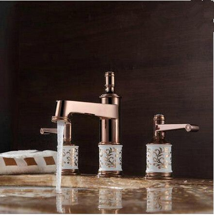 Antique Brass Rose Gold Two Handles Classical Bathroom Sink Faucet