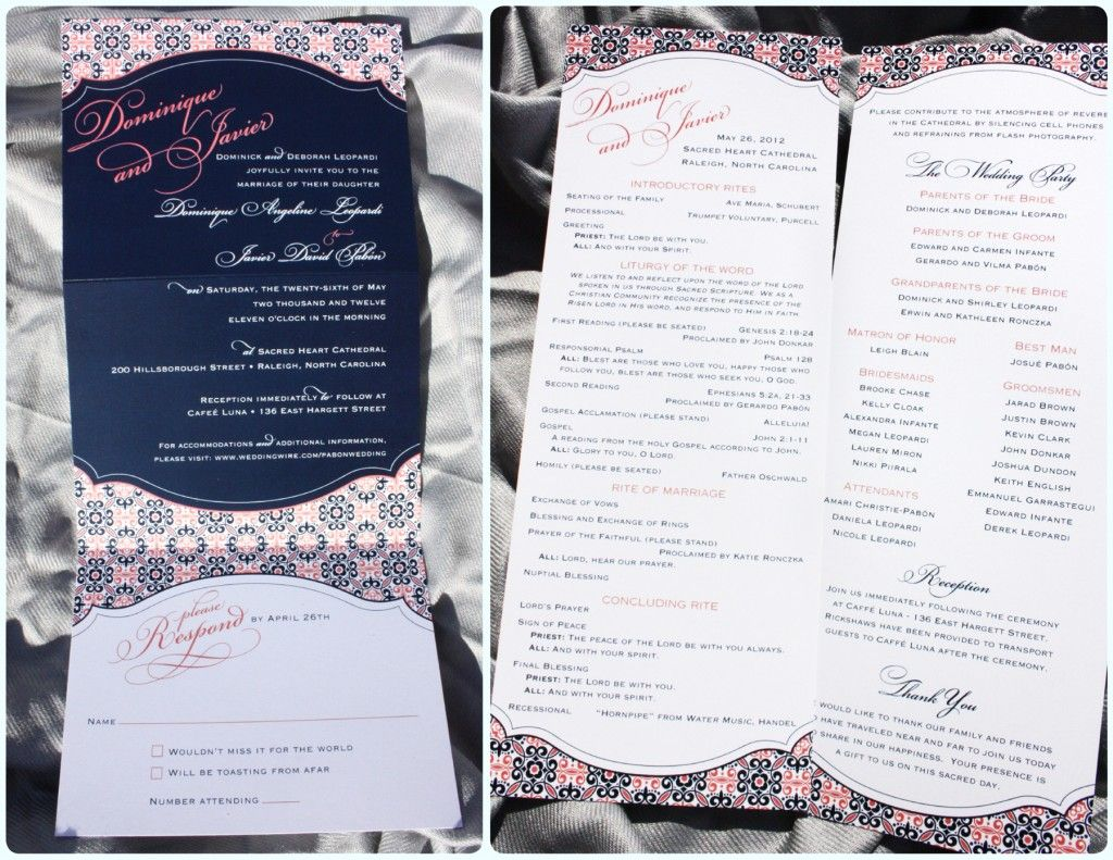 coral and navy wedding birds invites | Navy Blue & Coral Pink ...