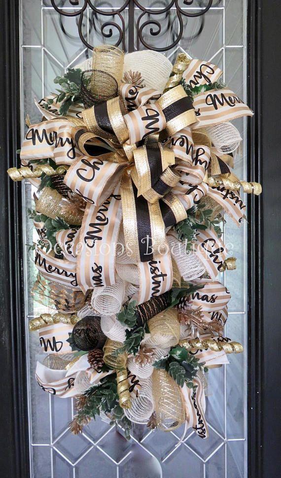 Christmas door swag christmas wreath holiday wreath - Decoracion navidena artesanal ...