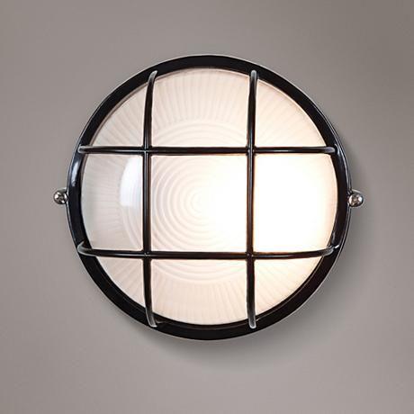 Nauticus 9 1 2 High Black Outdoor Wall Light 7x708 Lamps Plus Led Outdoor Wall Lights Access Lighting Bulkhead Light
