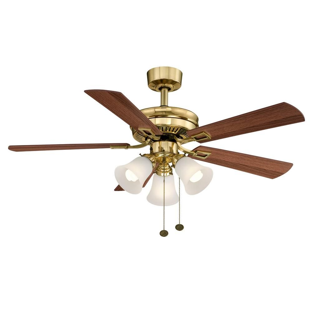 Hampton bay sinclair in indoor flemish brass ceiling fan with