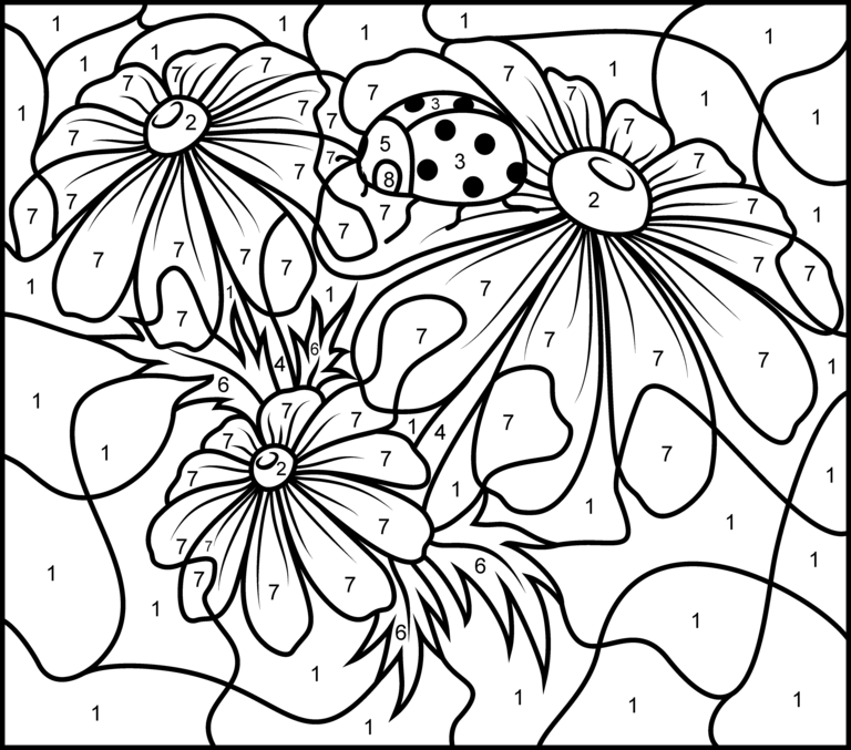 camomile printable color by number page hard