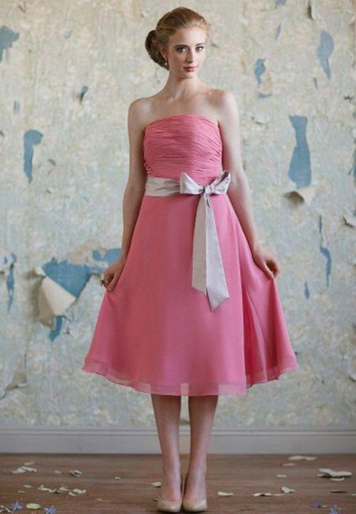 Vestido vintage en color rosa para damas de honor. | vestidos ...