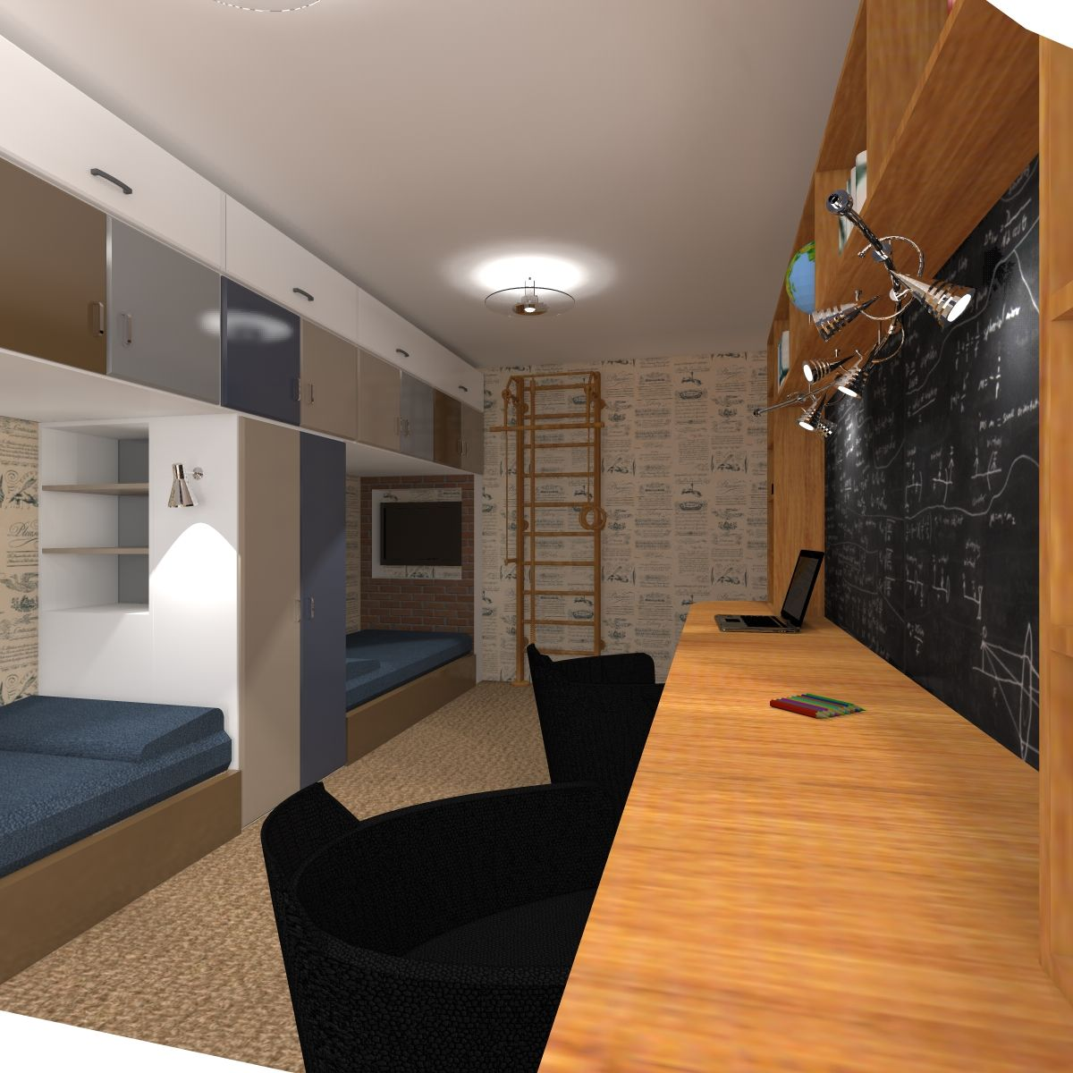 комната для двух мальчиков подростков 16м2 Drozelcom детская