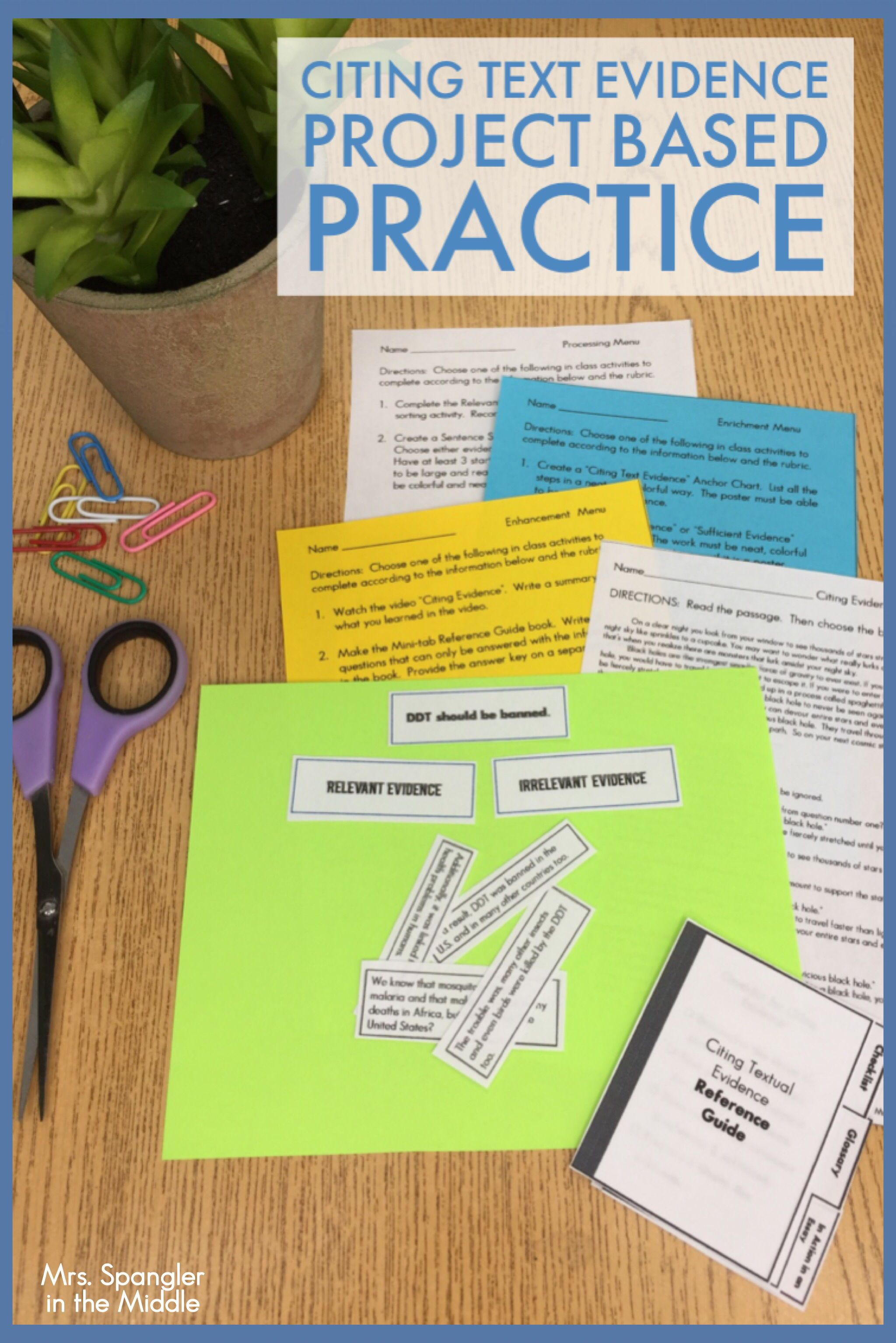 Citing Textual Evidence Project Based Practice Quiz