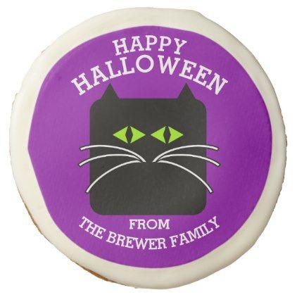 Happy Halloween Blockhead Kitty Cat Sugar Cookie - halloween decor - halloween decorations black cat
