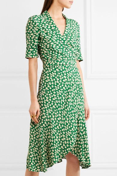 cfe396dc GANNI - Dalton floral-print crepe wrap dress | Fashion Plate ...