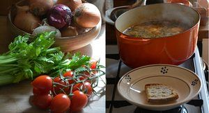 A Tuscan vegetable soup with bread and topped with an egg, AKA acquacotta.
