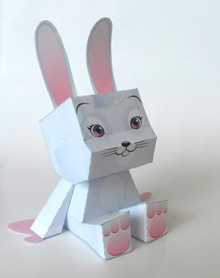 rabbit paper toy template | Paper Toys | Paper toys, Paper