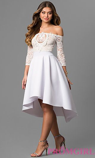 High-Low Off-the-Shoulder Party Dress with Sleeves | Sleeve ...