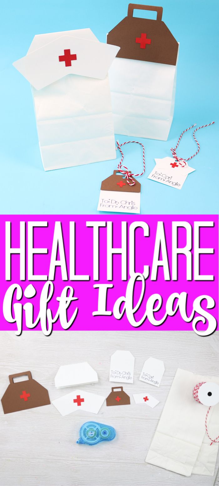 Use your Cricut to make gift bags and tags for hospital staff and fill them with gift ideas they will love! #giftideas #healthcare #giftbags #gifttags #cricut #cricutcreated
