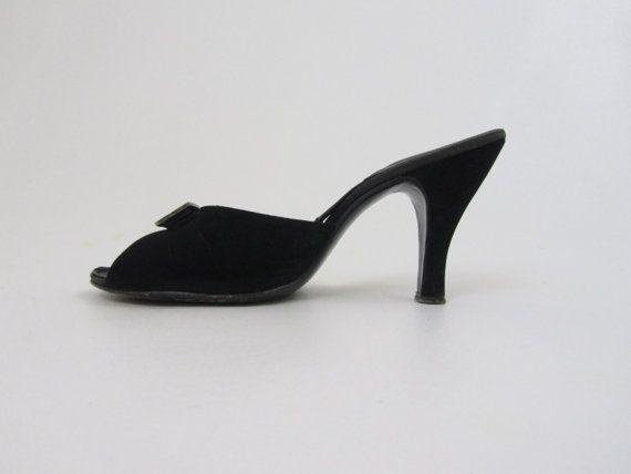 20b8db7e4f0d0 1950s Shoes Springolator Peeptoe Black Suede | 4 Birds Vintage ...