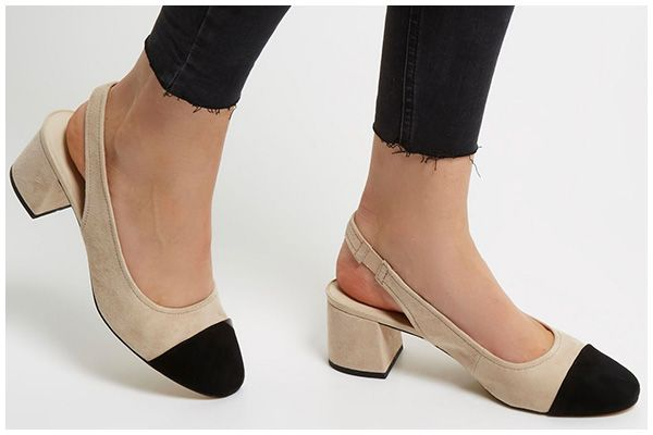 c172fc7150a River Island Slingback Block Heels in cream and black suede