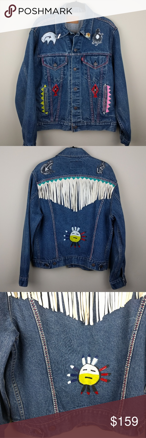 Levi Strauss Jacket Native American Hand Painted Clothes Design Levi Fashion [ 1740 x 580 Pixel ]