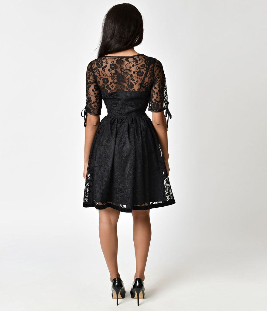 Banned Vintage Black Lace Feeling Rosy Half Sleeve Flare Dress Fit N Flare Dress Pretty Black Dresses Flare Dress [ 1023 x 879 Pixel ]