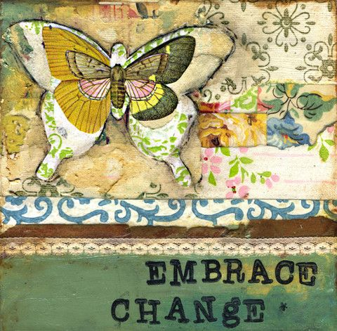 EMBRACE CHANGE. Mixed media art. Patchwork collage painting. Soul ...