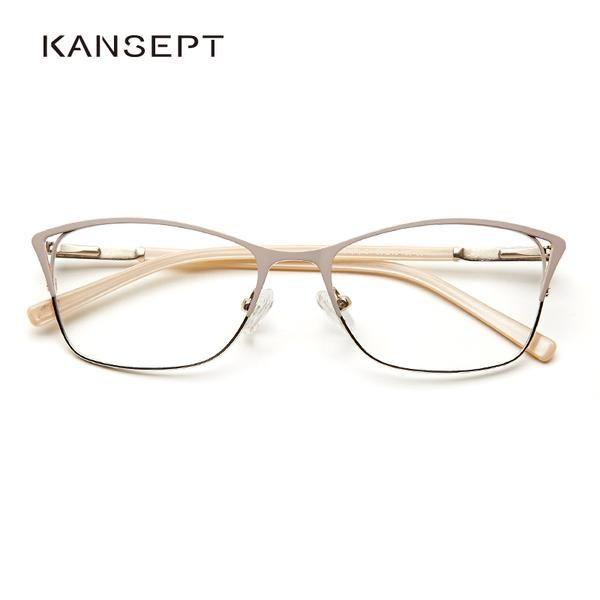 Photo of Metal Women Cat Eye Optical Glasses Frame Transparent Grad Eyeglasses #TWM7554C1