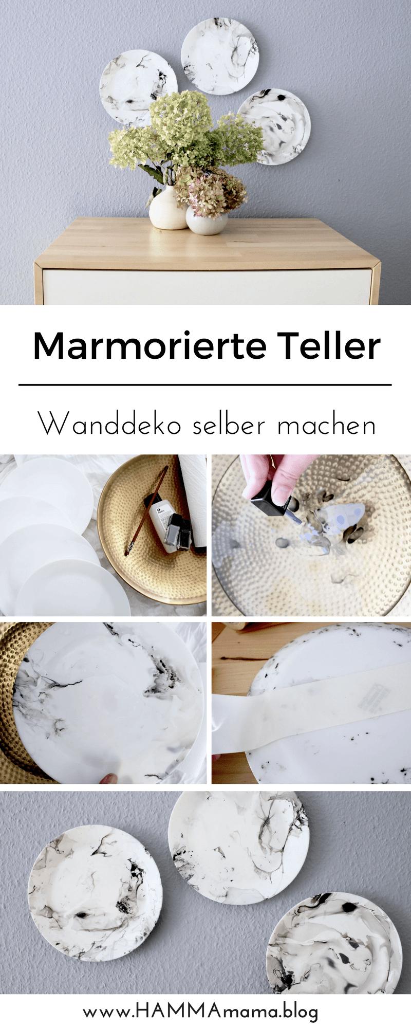DIY-Idee für eine originelle Wanddekoration ° Teller marmorieren mit ...