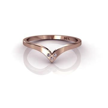 Tiny 14K Rose Gold Ring Past Present Future by ChicJoaillerie for $185.00