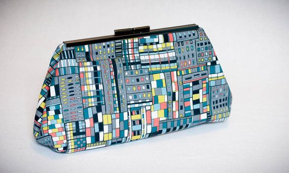 Multicolored Clutch Purse Blue Gray Green Coral with by On3Designs