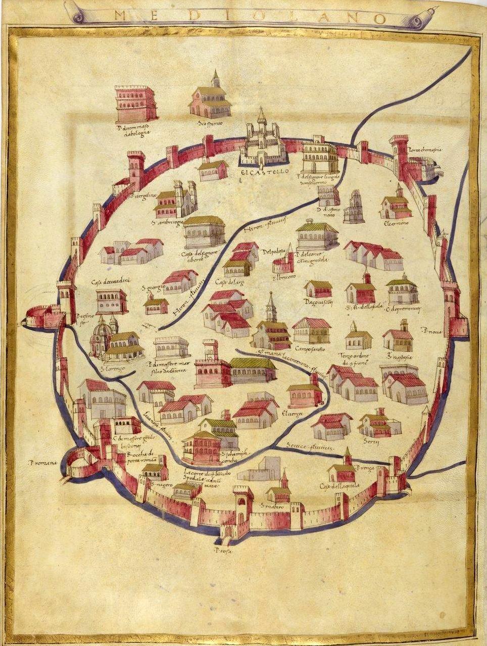 Cartina Dell Italia In Miniatura.Citta In Miniatura Milano Nel 1470 Folia Mappe Illustrate Mappe Antiche Vecchie Mappe