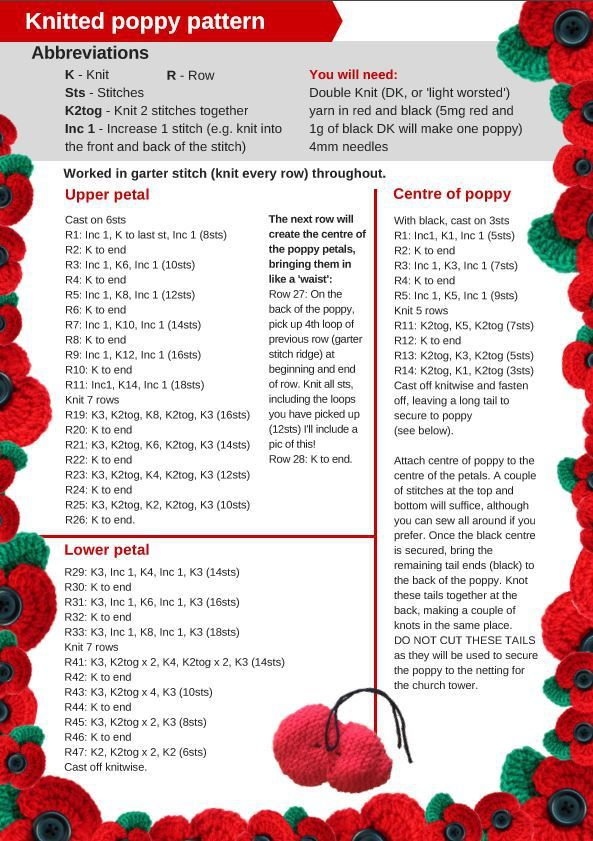Image result for knitted remembrance poppies | Knitted ...