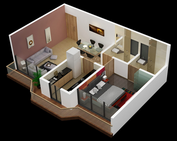 25 One Bedroom House Apartment Plans Escuela De Arquitectura Di