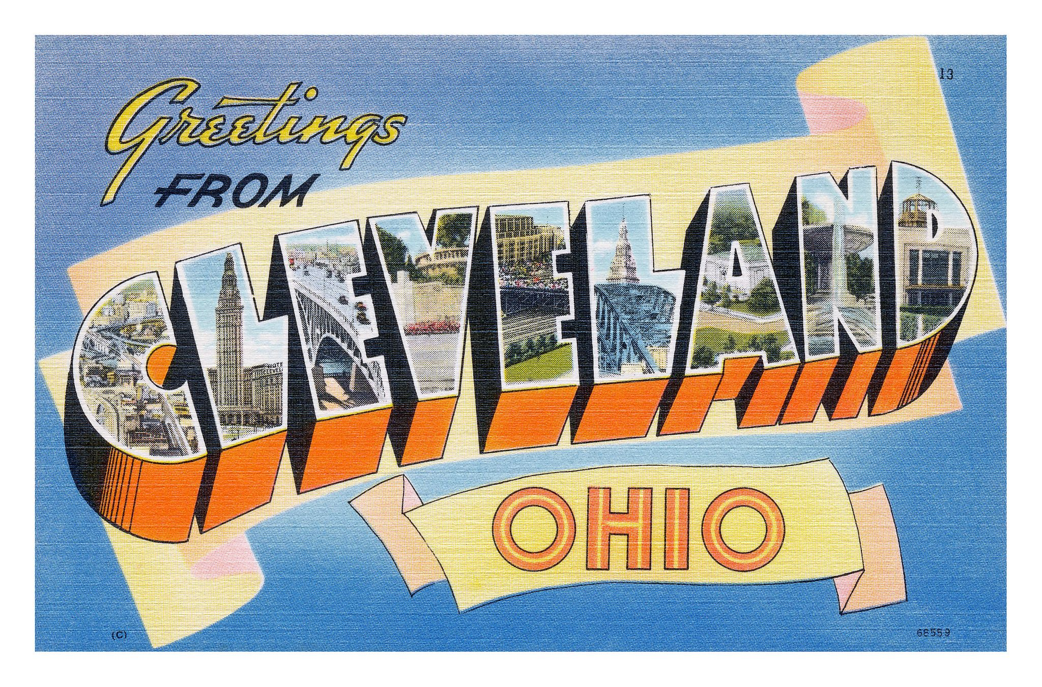 Greetings from cleveland ohio postcard ohio cleveland and road greetings from cleveland ohio large letter postcard aiddatafo Images