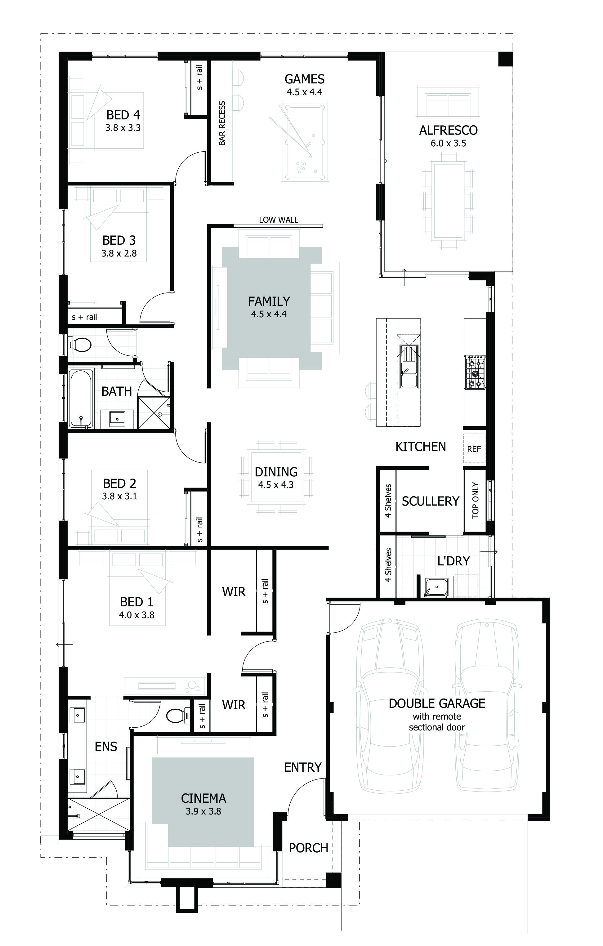 4 Bedroom House Plans Home Designs Bungalow Floor Plans House