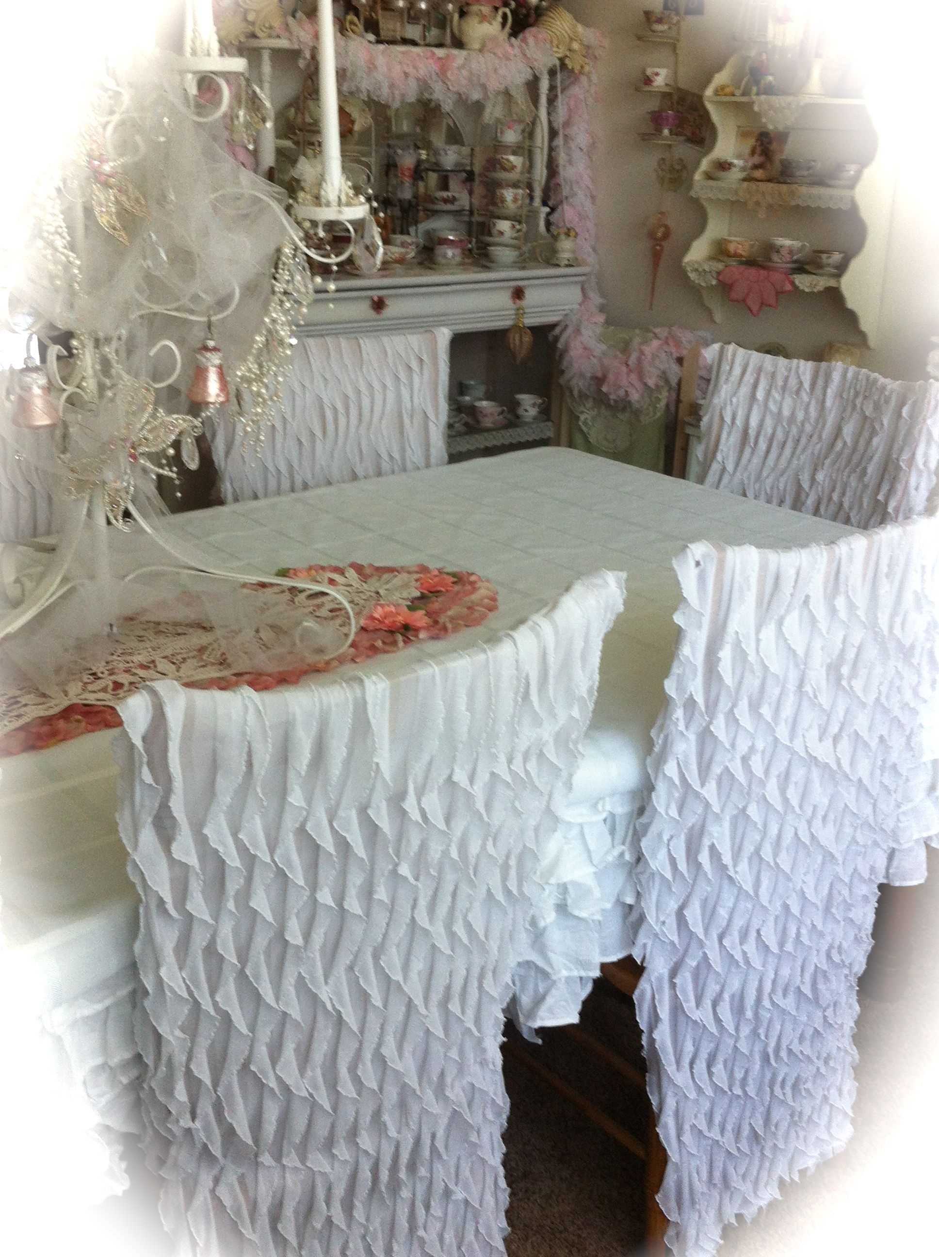 Hobby Lobby Ruffled Material To Make My Dining Room Chair Covers