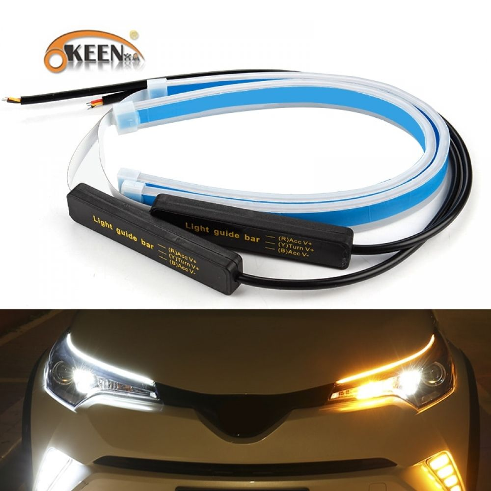 Okeen 2x Ultrafine Cars Drl Led Daytime Running Lights White Turn Signal Yellow Guide Strip For Headlight Asse In 2020 Car Headlights Running Lights Headlight Assembly