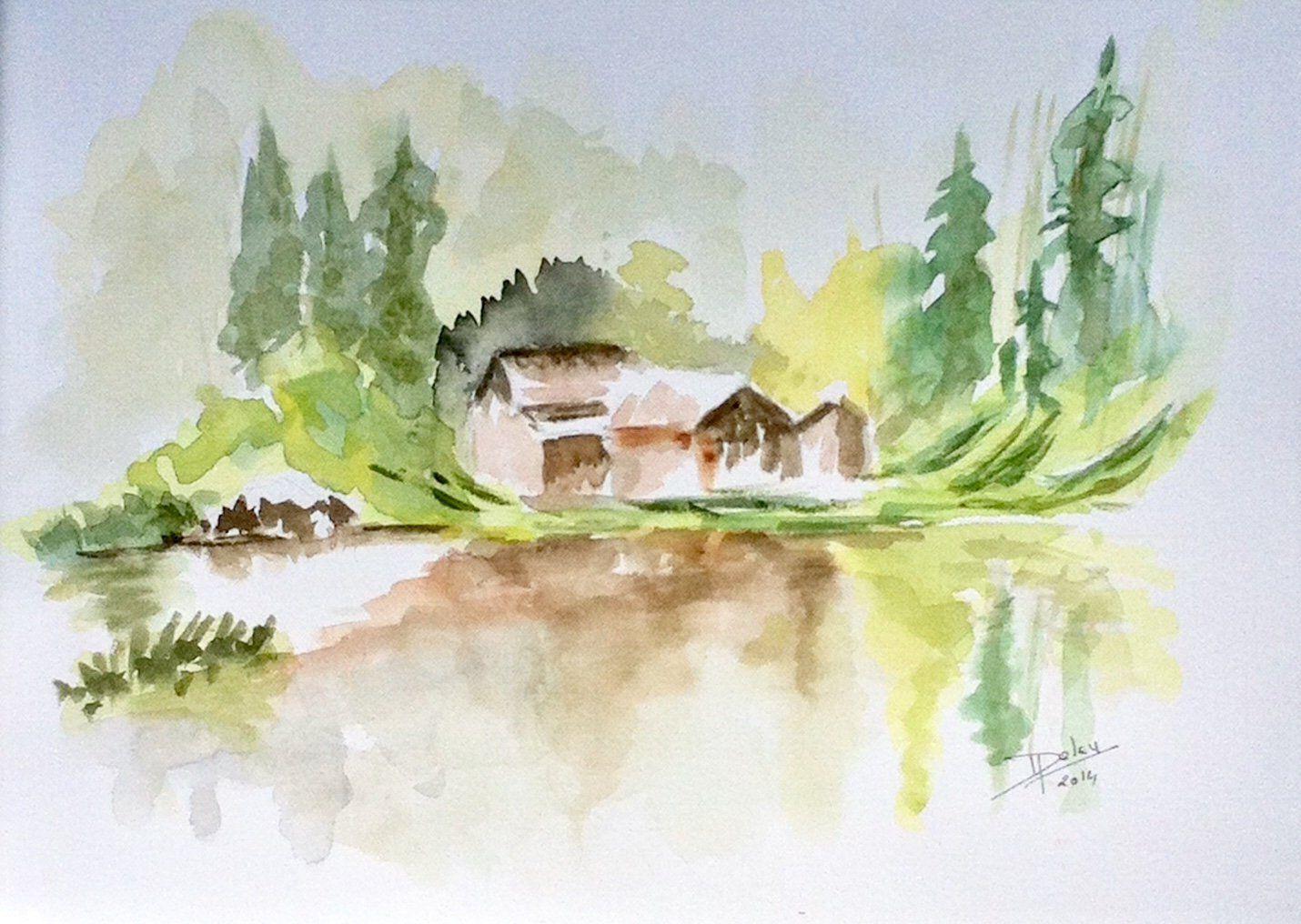Chalet Dans La Montagne Aquarelle Originale 24x32 Etsy Easy Watercolor Original Watercolors Painting