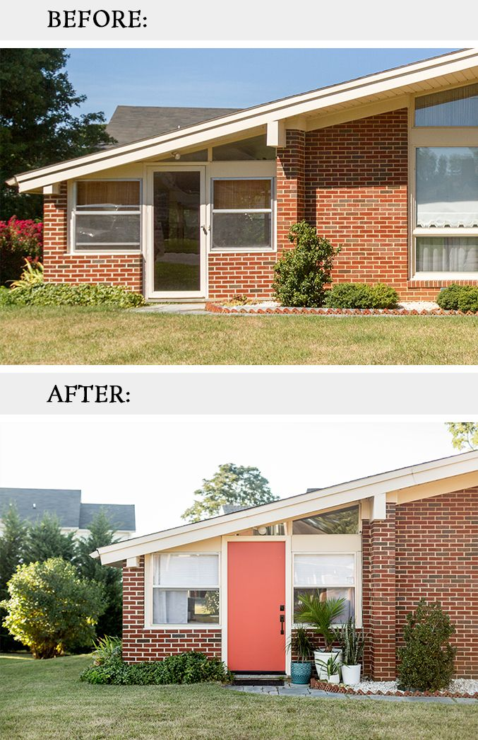 Mid Century Inspired Curb Appeal Update For The Home Curb Appeal Mid Century Entry Doors