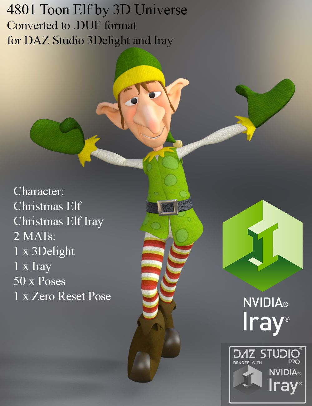 Toon Elf converted and updated to Iray for DAZ Studio 4.9
