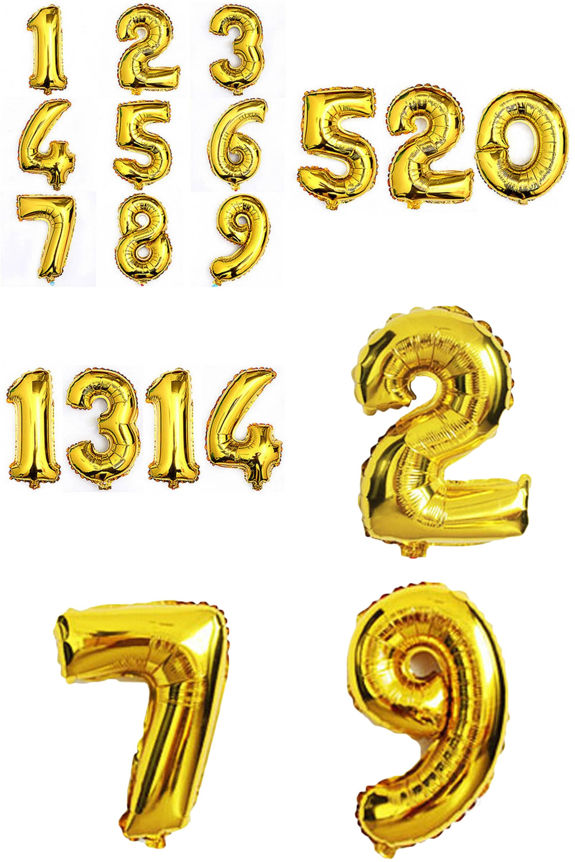 Visit to Buy] 1pcs 16 inch 0 9 Gold Number Foil Balloons Digit