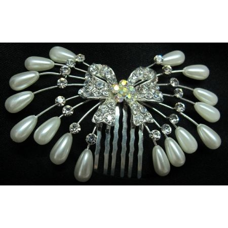 Beautiful Rhinestones & #pearl #hair #pin. Float down the isle on your special day with this beautiful vintage inspired comb pinned in your hair.