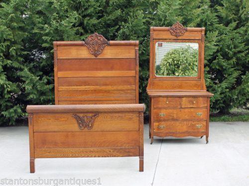 Antique High Back Oak Beds Ebay With Images Victorian Bedroom Set Oak Beds Victorian Bedroom
