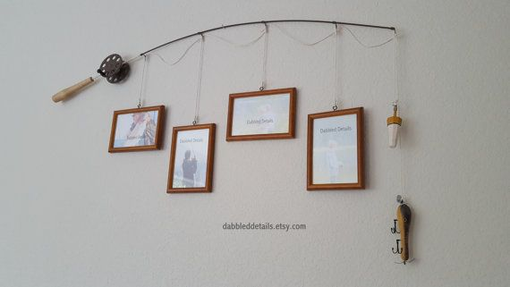 Fishing Pole Picture Frame - Brown or Silver Pole - 4 - 4 in x 6 in ...