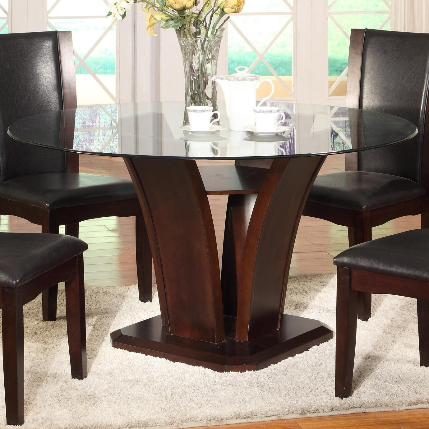Create A Unique Look With Glass Top Dining Table Darbylanefurniture Com In 2020 Round Dining Room Glass Top Dining Table Round Dining Room Table