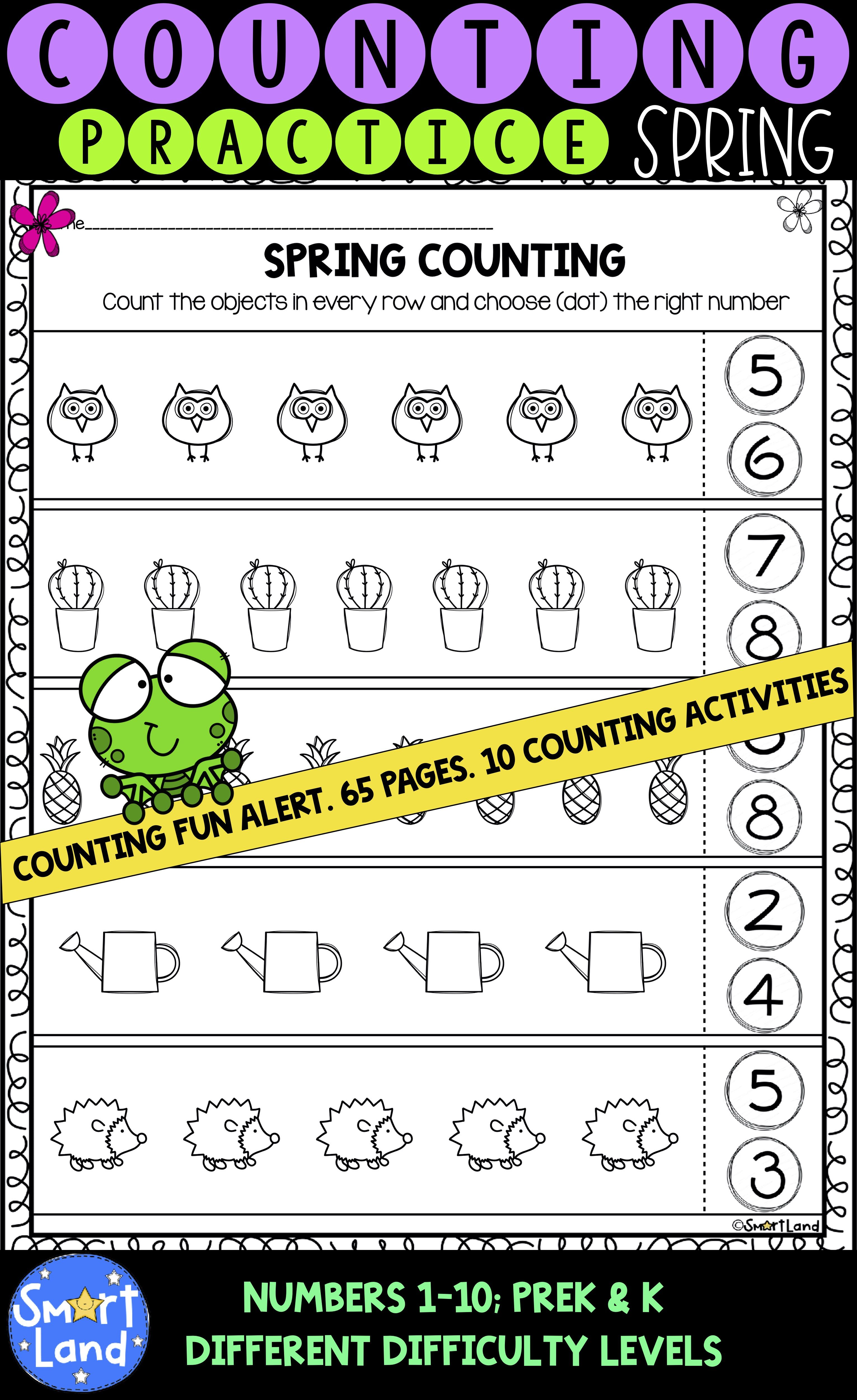Counting Practice Numbers 1 10 Spring Edition In