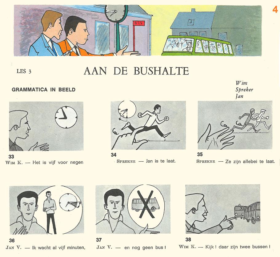 Audiovisuele Methode Nederlands : les 3 - Aan de  bushalte [4] - grammatica in beeld
