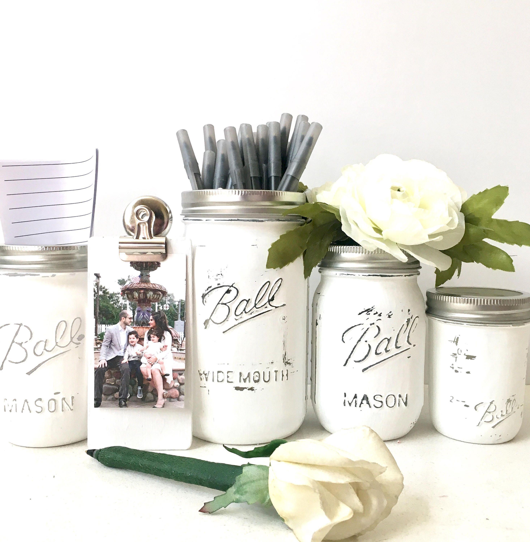 Rustic Mason Jar Desk Set For Women Office Desk Set For