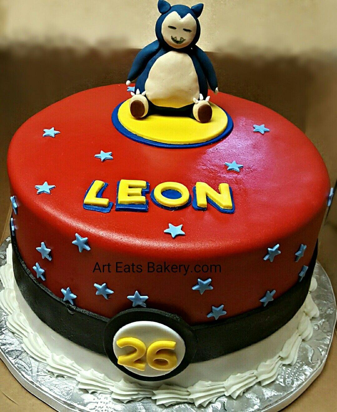 Kid S Custom Unique Pokemon Ball Red Fondant Birthday Cake
