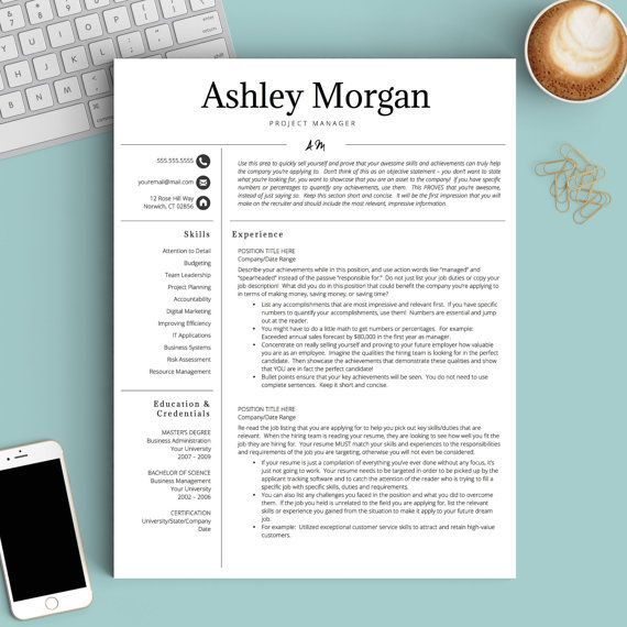 Pretty initials design on this professional resume template - modern professional resume