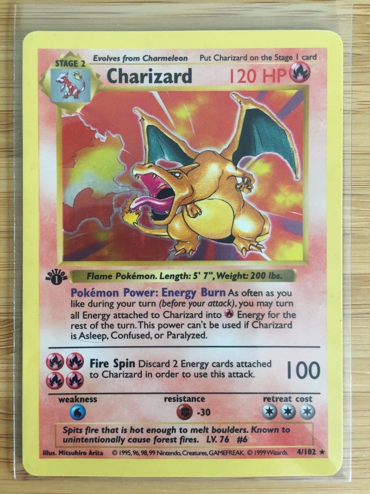 pokemon First Edition Shadowless Charizard Holo - Rare