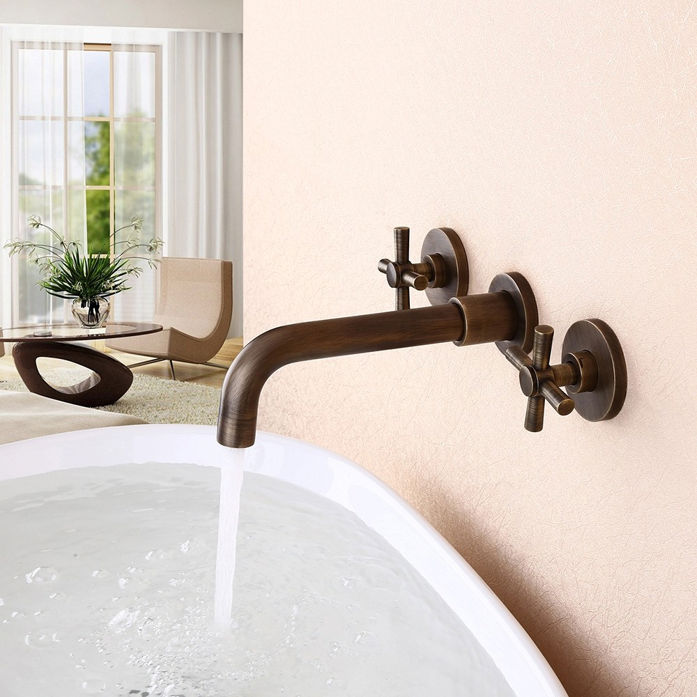 Melro Classic Wall Mounted Double Cross Handle Bathroom Sink Faucet In Antique Brass In 2020 Bathroom Sink Taps Wall Mounted Taps Wall Mount Faucet Bathroom Sink